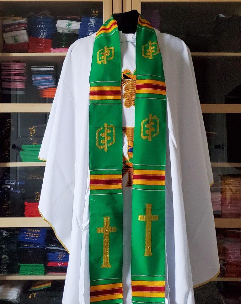 Clergy Kente Stole Green