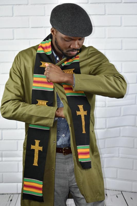 Cross Kente Black
