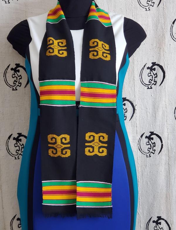 Traditional Black Kente Stole Rams Horn