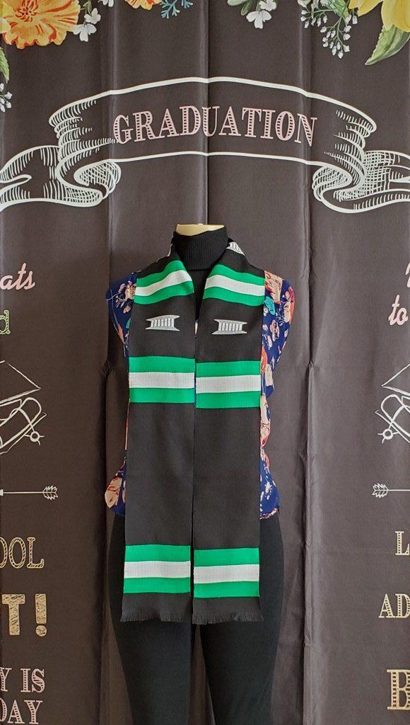 Custom Nigerian  Flag Kente Stole Black
