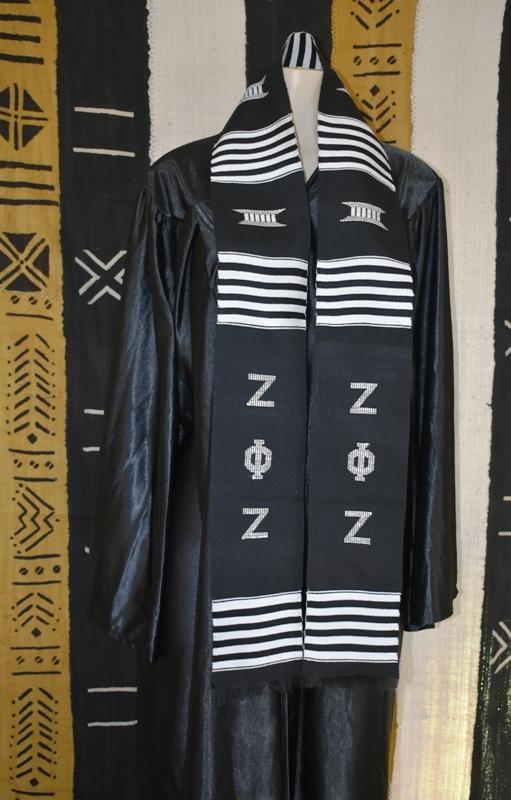 Zeta Phi Zeta Kente Stole Black