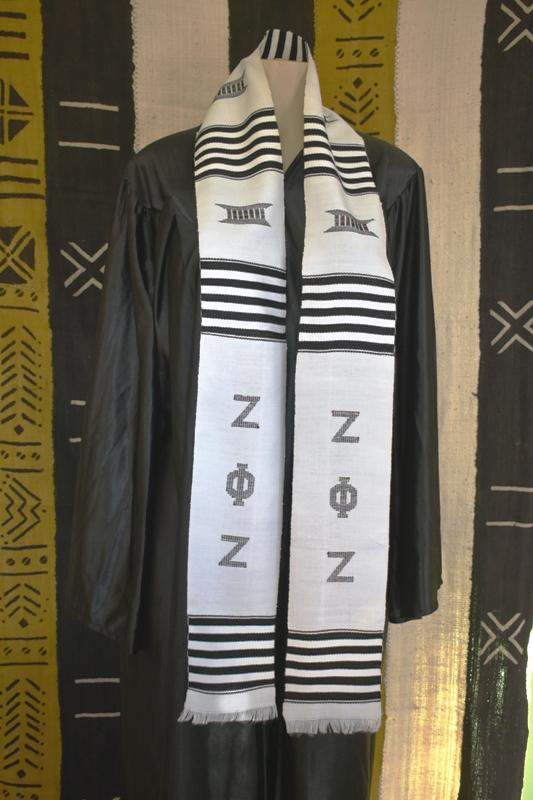 Zeta Phi Zeta Kente Stole White