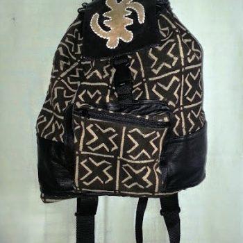 Leather-Mudcloth-New-Backpack-Gye Nyame 1